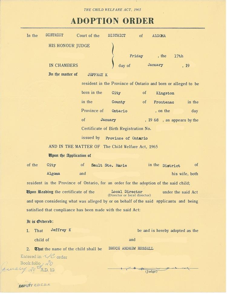 Adoption Order redacted 24Dec13